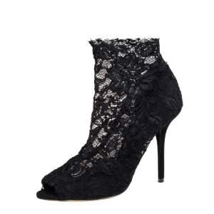 Dolce & Gabbana Black Lace Ankle Boots Size 38