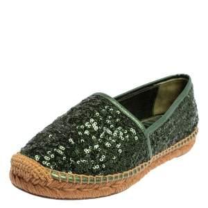Dolce & Gabbana Green Sequin Flat Espadrilles Size 37