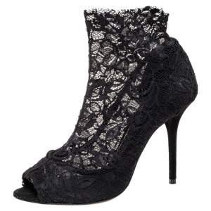 Dolce & Gabbana Black Lace Peep Toe Boots Size 41