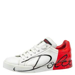 Dolce & Gabbana White/Red Leather Logo Painted Sneakers Size 39