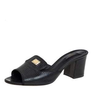 Dolce & Gabbana Black Lizard Embossed Leather Block Heel Slide Sandals Size 38.5