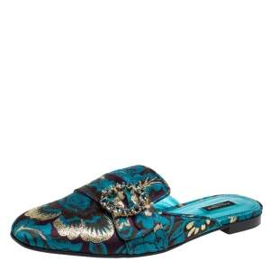 Dolce & Gabbana Blue Printed Brocade Fabric Crystal Embellished Mules Size 41