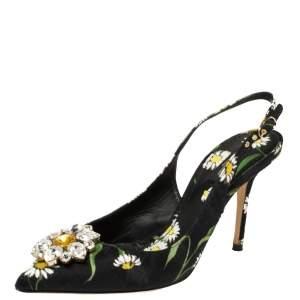 Dolce & Gabbana Multicolor Brocade Floral Fabric Crystal Embellished Slingback Sandals Size 39.5
