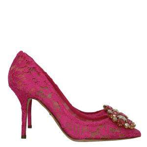 Dolce & Gabbana Pink Taormina Lace Crystal Embellished Pumps Size 37