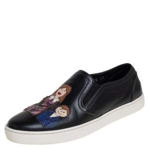 Dolce & Gabbana Black Leather Family Patch Sneakers Size 36