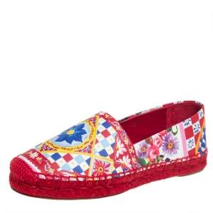 Dolce & Gabbana Multicolor Floral Printed Leather Espadrille Flats Size 36
