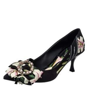 Dolce & Gabbana Multicolor Floral Print Fabric Crystal Embellished Pumps Size 38.5