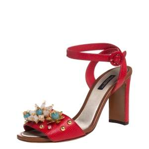 Dolce & Gabbana Red Lizard Embossed Leather Embellished Ankle Strap Sandals Size 38.5
