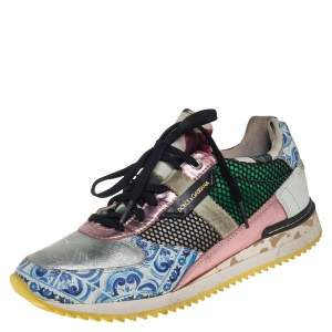 Dolce & Gabbana Multicolor Leather and Mesh Low Top Sneakers Size 38
