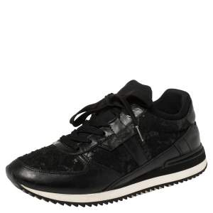 Dolce & Gabbana Black Lace And Leather Low Top Sneakers Size 38.5