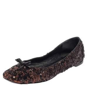 Dolce & Gabbana Black/Brown Sequin Flats Size 39