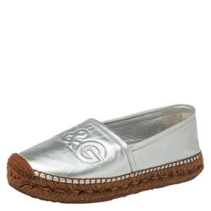 Dolce & Gabbana Brown/Silver Leather Espadrille Flats Size 39