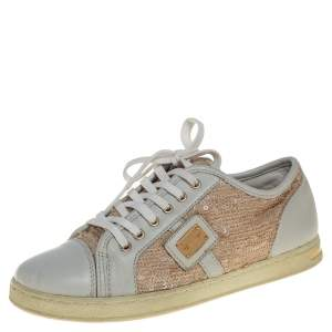 Dolce &Gabbana White/Brown Leather Sequin Embellished Sneakers Size 34