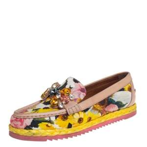 Dolce & Gabbana Multicolor Brocade Fabric And Leather Crystal Embellished Loafers Size 37