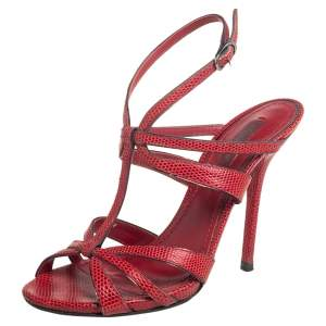 Dolce & Gabbana Red Lizard Embossed Leather Strappy Sandals Size 37