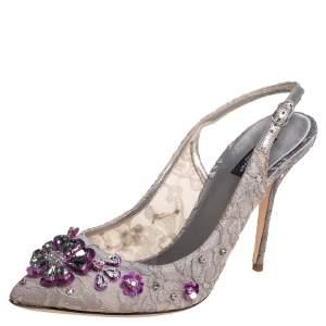 Dolce & Gabbana Grey Lace Crystal Embellishment Singback Sandals Size 40.5