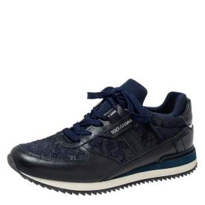 Dolce & Gabbana Blue/ Black Lace And Leather Low Top Sneakers Size 39