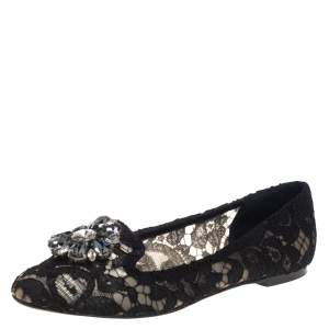 Dolce and Gabbana Black Lace Crystal Embellished Taormina Ballet Flats Size 37.5