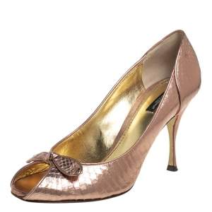 Dolce & Gabbana Metallic Bronze Python Embossed Leather Peep Toe Pumps Size 41