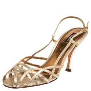 Dolce & Gabbana Metallic Gold Leather Slingback Sandals Size 41