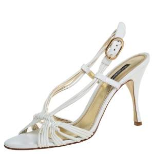 Dolce & Gabbana White Leather Slingback Sandals Size 40