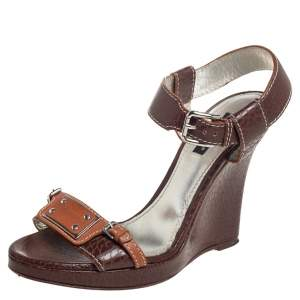 Dolce & Gabbana Brown Textured Leather Wedge Ankle Strap Sandals Size 37.5