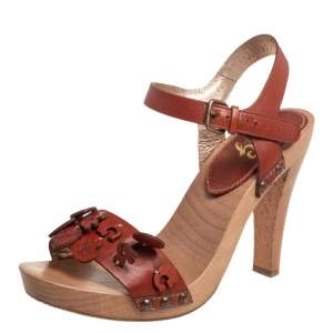 Dolce & Gabbana Brown Leather Charms Wood Sandals Size 39