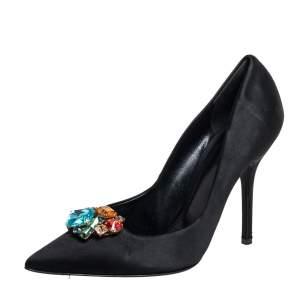 Dolce & Gabbana Black Satin Crytal Embellished Pumps Size 39