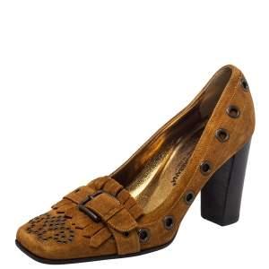 Dolce & Gabbana Brown Suede Block Heel Pumps Size 37