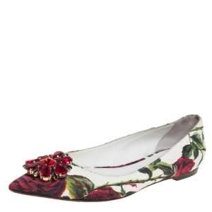 Dolce & Gabbana White Jacquard Rose Print Bellucci Ballet Flats Size 38