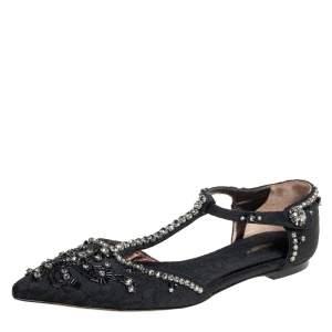 Dolce & Gabbana Black Fabric Embellished T-Strap Sandals Size 41