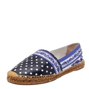 Dolce & Gabbana Multicolor Polka dot Print Leather Espadrille Flats Size 41