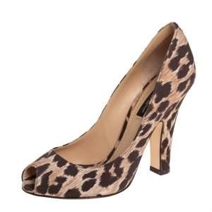 Dolce & Gabbana Brown/Beige Leopard Print Fabric Peep Toe Pumps Size 36