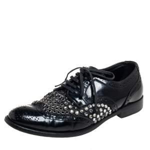 Dolce & Gabbana Black Brogue Leather Studded Embellished Lace Oxfords Size 38