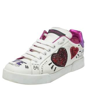 Dolce & Gabbana White Leather Patch Embroidered Low Top Sneakers Size 38