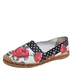 Dolce & Gabbana White Floral Print Leather Espadrille Flats Size 38