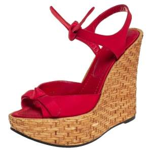 Dolce & Gabbana Red Canvas Wedge Ankle Strap Sandals Size 38