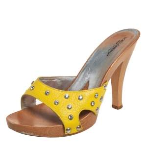 Dolce & Gabbana Yellow Leather Wooden Clogs Sandals Size 39