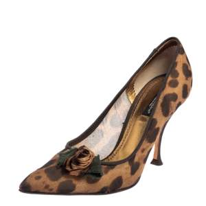 Dolce & Gabbana Brown Leopard Print Fabric Pointed Toe Pumps Size 38