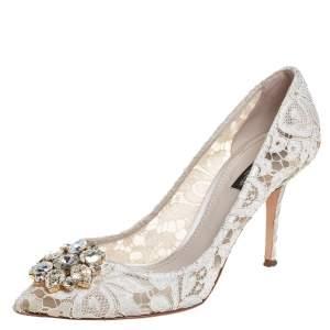 Dolce & Gabbana White Lace Taormina Pumps Size 40.5