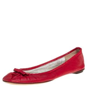 Dolce & Gabbana Red Leather Bow Ballet Flats Size 38.5