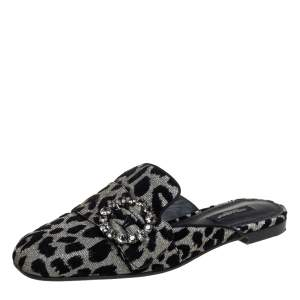 Dolce&Gabbana Leopard Print Fabric Crystal Embellished Mules Size 37