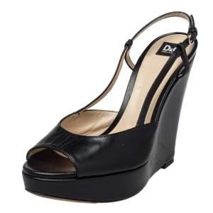 Dolce & Gabbana Black Leather Slingback Wedge Sandals Size 36.5