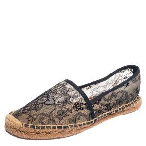 Dolce & Gabbana Black/Beige Lace Espadrille Flats Size 41