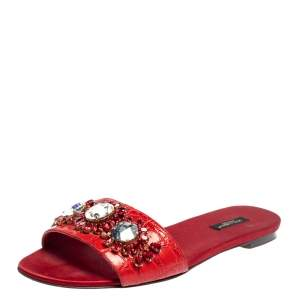 Dolce & Gabbana Red Corcodile and Satin Flat Slides Size 41