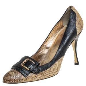 Dolce & Gabbana Black/Beige Python and Leather Buckle Detail Fringe Pumps Size 37.5