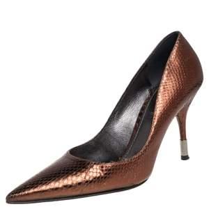 Dolce & Gabbana Metallic Bronze Snakeskin Pointed Toe Pumps Size 38.5