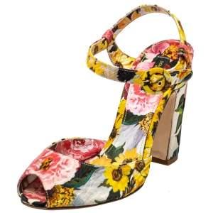 صندل دولتشي أند غابانا  كانفاس أزهار متعددة الألوان بحزام للكاحل مقاس 39