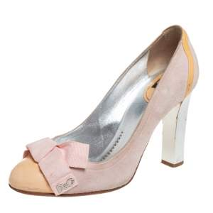 Dolce & Gabbana Beige/Pink Suede And Patent Leather Bow Pumps Size 39.5