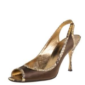 Dolce & Gabbana Green Satin And Python Trim Peep Toe Slingback Sandals Size 39